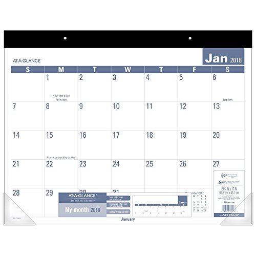 "AT-A-GLANCE Monthly Desk Pad Calendar, January 2018 - December 2018, 21-3/4"" x 17"", Easy to Read (SKLP2432)"