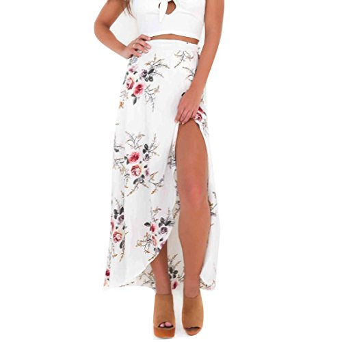 FEITONG Womens Boho Floral Tie up Waist Summer Beach Wrap Cover up Maxi ()