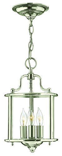 Hinkley 3470PN Traditional Three Light Foyer from Gentry Collection in Chrome, Pol. (Traditional Foyer Lights Hinkley Lighting)