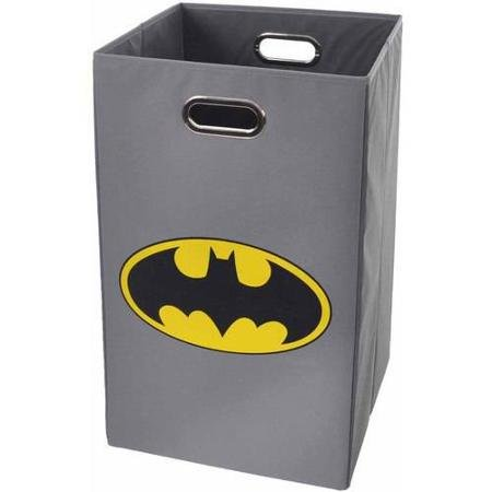 Modern Littles Batman Logo Folding Laundry Basket, Grey