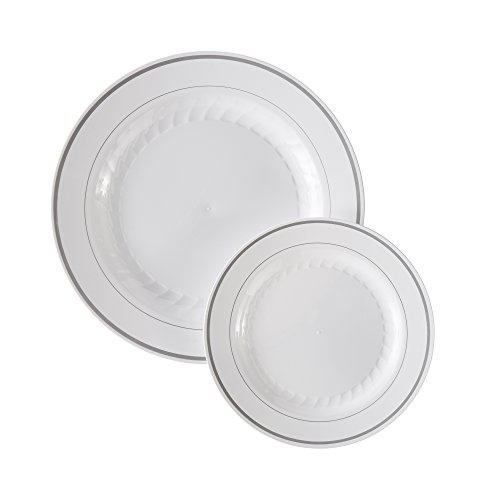 (Masterpiece Premium Quality Heavyweight Plastic Plates: 25 Dinner Plates and 25 Salad Plates)