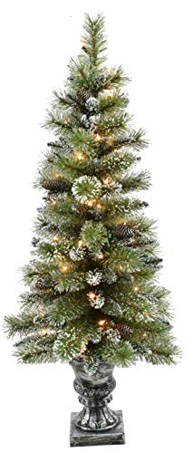 Puleo International 4 Foot Pre-Lit Glitter Potted Artificial Christmas Tree with 50 UL-Listed Clear Lights, Green (Trees Christmas Small Potted)