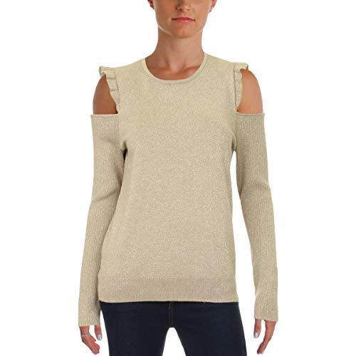 Nylon Sweater Metallic (DKNY Womens Cold Shoulder Metallic Pullover Sweater Gold S)
