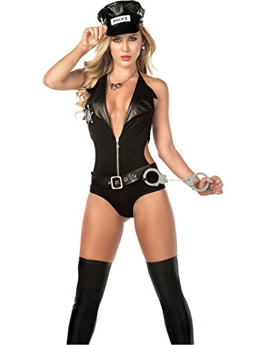 Sexy Milf Police Officer Teddy Costume in Black, Medium (Costume Milf)