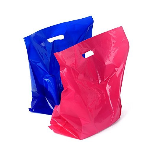 100 Retail Merchandise Plastic Bags 12x15 - 1.75 mil [ 50 Pink 50 Blue ] Large Glossy Shopping Bags With 3.5 mil Double Thick Handles Tear Resistant For Clothes Shoes Books Shop Store Boutique Bags