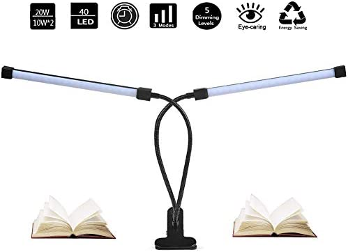 Dual Head LED Reading Light, DZLight 20W Dimmable Clip on Light with Auto-Off Timer, 3 Lighting Modes 5-Level Dimmer, Flexible Clip on Lamp for Desk, Bedroom, Office, Adapter Included