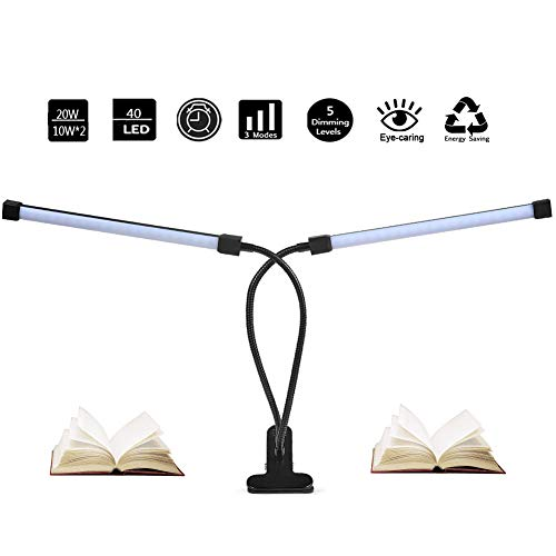 (Dual Head LED Reading Light, DZLight 20W Dimmable Clip on Light with Auto-Off Timer, 3 Lighting Modes 5-Level Dimmer, Flexible Clip on Lamp for Desk, Bedroom, Office, Adapter)