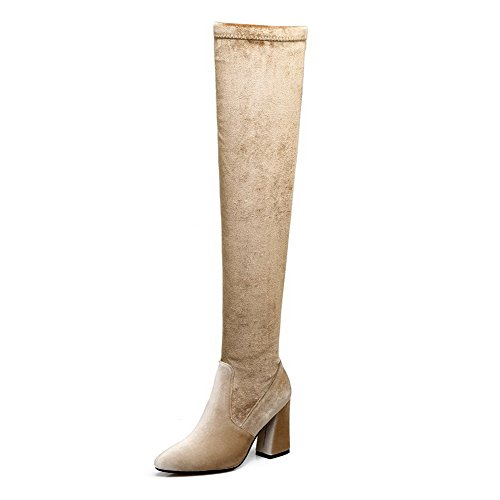 Suede ABL09785 Above Solid Toe High BalaMasa Pointed Womens Heel The Boots Knee Apricot Zipper Aaqn7v