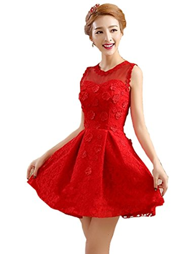 Bright Transparentem Ausschnitt DL0030 Great Rot mit Minikleid Damen Cocktailkleid Halb UxdvCT
