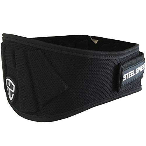 Steel Sweat Weight Lifting Belt - Nylon 6-inch Firm & Comfortable Back Support, Best for Workouts at The Gym, Weightlifting or Crossfit. Easily Adjustable MAXE Black Large