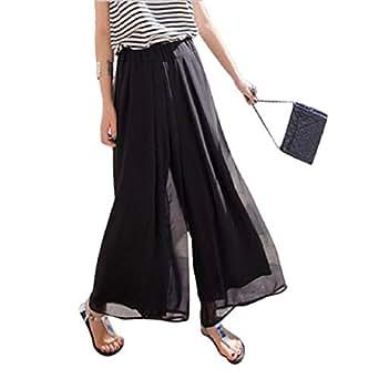 Lookatool Women's Wide Leg Chiffon High Waist Pants Long Loose Culottes Trousers (Black)