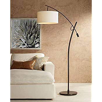 Kellan Modern Arc Floor Lamp Oil Rubbed Bronze Fabric Drum