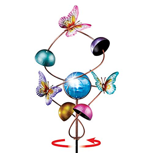 Collections Etc Solar Bright Unique Butterfly Helix Spinner Yard Stake - Whimsical Outdoor -