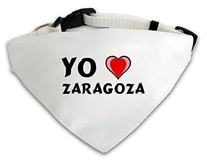 Pañuelo blanco personalizado para perros con Amo Zaragoza (ciudad / asentamiento)
