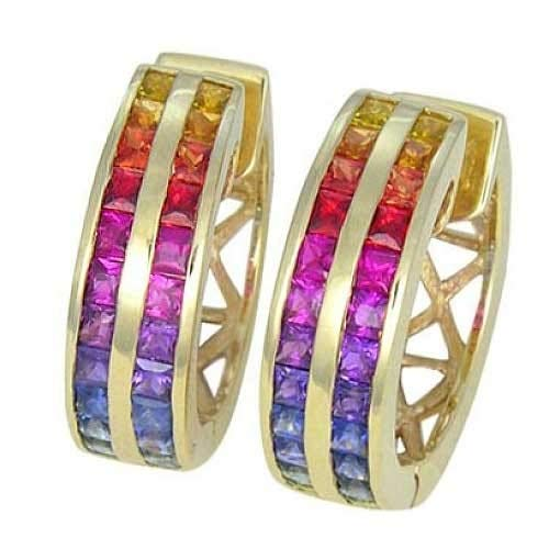 EQUALLI Geometric Rainbow Sapphire Earrings in .925 Sterling Silver or 14K Gold (Double Row Huggie, yellow-gold)