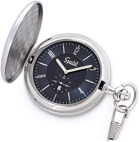 Speidel Classic Brushed Satin Silver-Tone Engravable Pocket Watch with 14