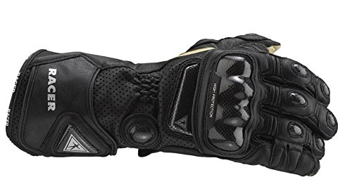 High Racer Glove - HIGH RACER CARBON KNUCKLE RACING LEATHER MOTORCYCLE GLOVES BLACK LRG