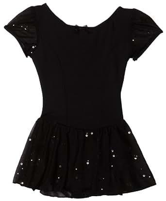 Capezio Little Girls' Sequined Puff Sleeve Dress, Black,Toddler (2-4)