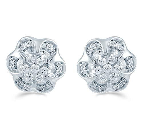 Fifth and Fine 1/3ct tw Diamond Floral Cluster Fashion Stud Earring in Sterling Silver