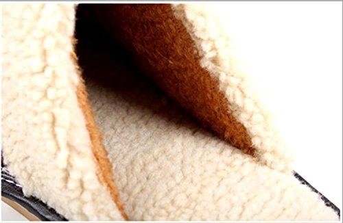 En De Cuir Accueil Hommes Femmes Sol Pantoufles Chaud Coton Hiver Buzede Semelle qxp4tEwq