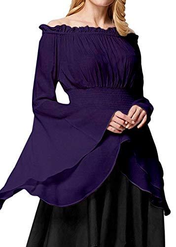 Womens Renaissance Blouse Off Shoulder Trumpet Sleeve Peasant Tops Medieval Victorian Costume (M, Purple) ()