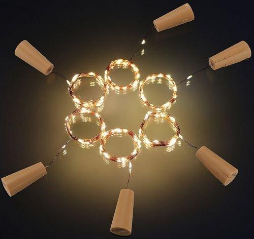 Cool White Serial Power Supply (20Led Cork Shaped LED Night Light Starry Light Wine Bottle Lamp for Xmas Decor (1, WARM WHITE))