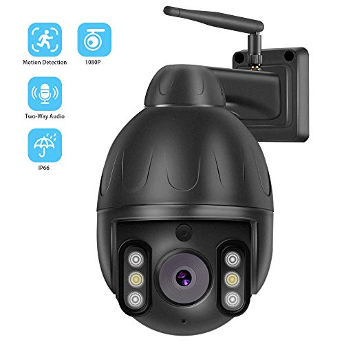 (Outdoor PTZ Security IP Camera, WiFi Dome Camera, Wireless Surveillance Systems with 1080 HD/Night Vision / 2-Way Audio/Motion Detection/Metal House)