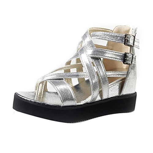 bescita Neue Fashion Damen Sommer Sandalen Schuhe Peep-Toe Halbschuhe Römischen Sandalen Damen Flip Flops (38, Silber)