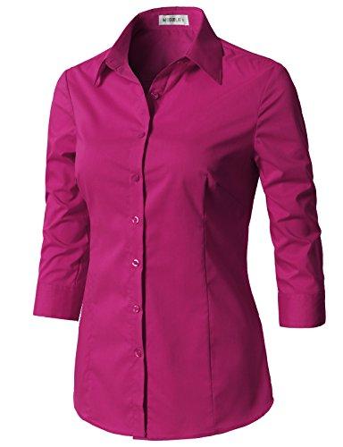 CLOVERY Women's Basic 3/4 Sleeve Formal Work Wear Simple Shirt with Stretch Fuchsia XS