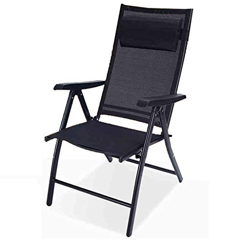 KHL New Breathable 7-Speed Adjustable Recliner Lounge Chair Zero Gravity Lounge Chair Suitable for Garden Outdoor Folding Pool Area Indoor Bedroom - Black (Outdoor Me Near Lounges)