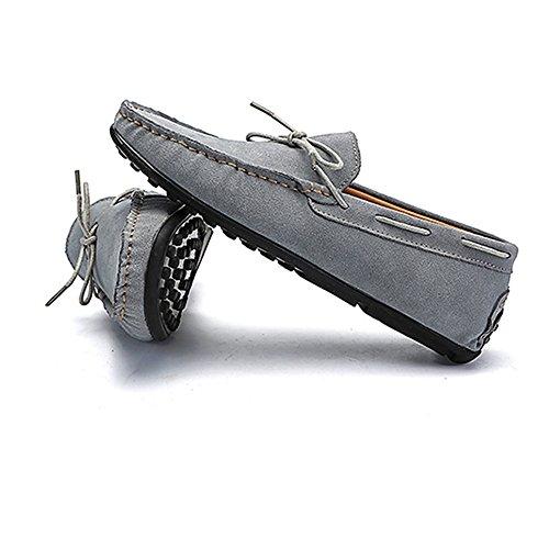 pelle vera 5 barca pelle Maschio driving Penny Grigio scarpe borchie Xiazhi mocassini suola shoes scarpe 2018 in gomma Militare 7 UK scamosciata uomo in da comfort mocassini in Marina A7FwRzOW
