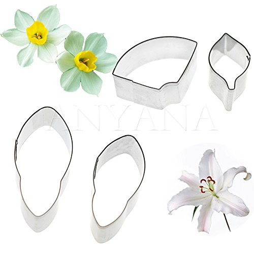 (Anyana Lily Daffodil Flower Cutters Set of 10pcs Gum Paste Leaf Cutter Set Sugar Paste Petal Cookie Cutter Decoration Mold Fondant Sugarcraft Flower Making Tool for Wedding,Birthday)
