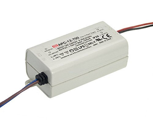 MEAN WELL ,Switching Power Supply LED Driver;110V-220V AC-DC Single Output 、Constant Current,Transformer,12W 9-18V 700mA (APC-12-700) by MEAN WELL