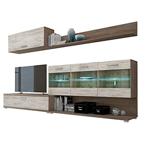 HomeSouth - Mueble de Comedor, modulo Salon Vitrina con Led, Modelo Zafiro, Acabado Color Trufa y Blanco Canon, Medidas: 250 cm (Ancho) x 39,6 cm (Fondo)