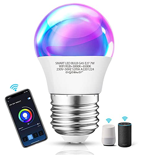 Aigostar Smart WiFi-bulb G45 E27-fitting, werkt met Alexa en Google Home, van kleur te veranderen, 7W LED-lampen…