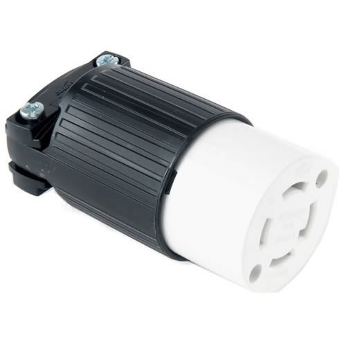 EATON L1430C Arrow Hart Safety Grip Grounded Locking Polarized Electrical Connector, 125/250 V, Black And White