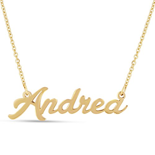 Andrea Nameplate Necklace In Gold Tone