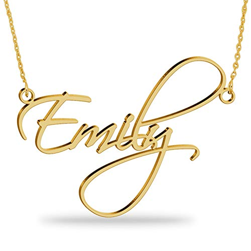 Joelle Jewelry Design 18K Gold Plated Name Necklace Personalized Sterling Silver Necklace Pendent Gifts Custom with Any Name (Name Necklace Gold)