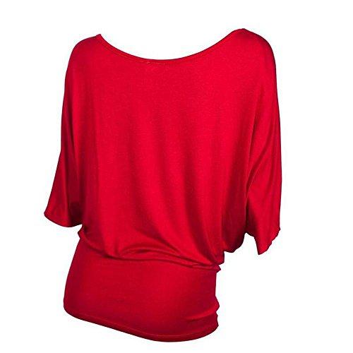 La Sra alrededor del cuello de la camisa de lentejuelas murciélago manga de la camiseta Red