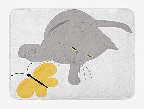 TAQATS Grey and Yellow Bath Mat, Cat Pet Feline Best Friend Playing with Spring Butterfly Print, Plush Bathroom Decor Mat with Non Slip Backing, 23.6 W X 15.7 W Inches, Black Marigold and Grey