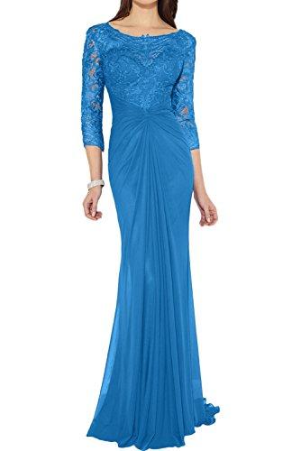 Damen Chiffon Partykleid lang Ivydressing 4 Blau Abendkleid Etui 3 Arm Spitze Brautmutterkleid Rundkragen Elegant Falte Applikation dTTpwqr84