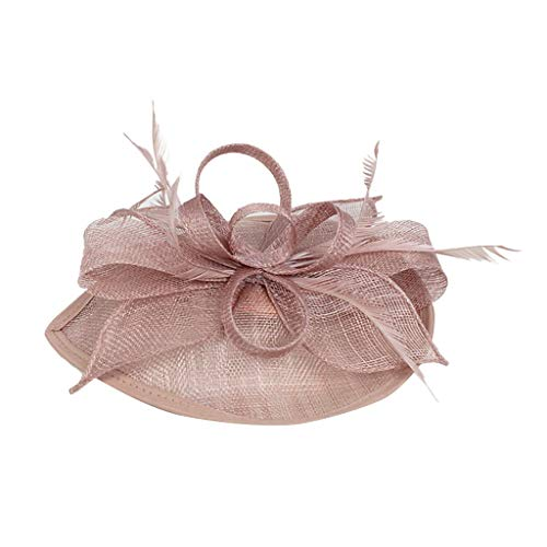 iNoDoZ Women's Flower Derby Hat for Cocktail Ball Wedding Church Feather Fascinators Elegant Headwear Pink ()