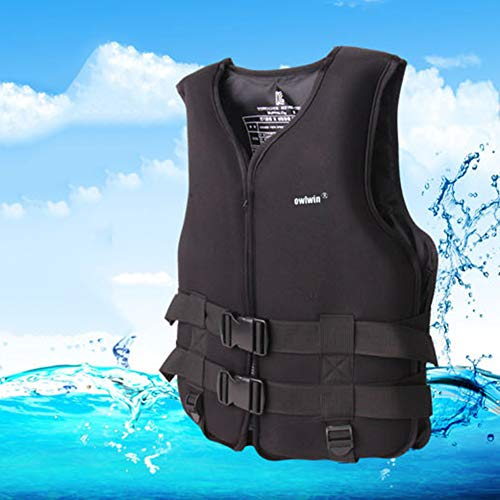 hAohAnwuyg Buoyancy Vest,Fish Equipment,Adult Kids Buoyancy Jacket Swimming Boating Drifting Surfing Floating Vest - Black XXL