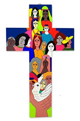 NOVICA Religious Large Wood Wall Cross, Multicolor 'Peace On Earth'