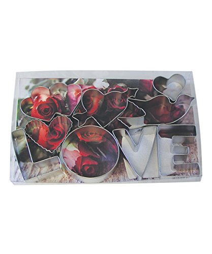 R&M International 1909 Love Cookie Cutters, 4 Hearts, 4 Letters, Dove, 9-Piece (Valentine Cookie Cutter)