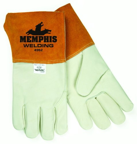 Tig Welder Glove Mig (MCR Safety 4952L Industry Grade Grain Cowhide Leather Mig/Tig Welder Gloves with Wing Thumb, Russet/Cream, Large, 1-Pair)