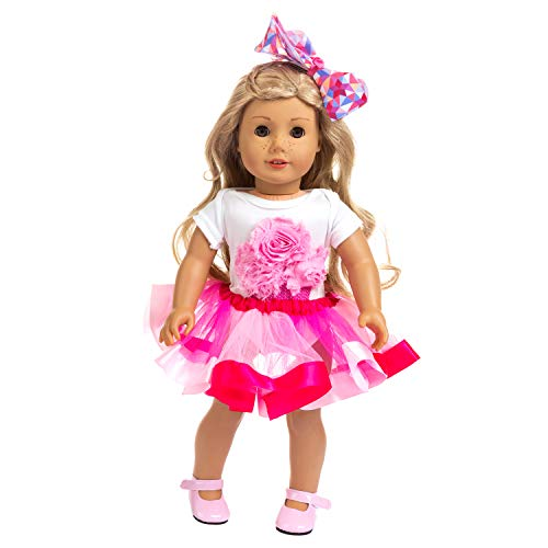 ZITA ELEMENT Clothes and Hair Accessories for American 18 Inch Girl Doll Dress up Clothing Outfits | 1 Pink Tutu, 1 Cotton Jumpsuit and 1 Hair Clip Fits 16