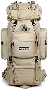 Sumuzhe Oversized Storage Space 85L Spacious Luggage Backpacking Backpack, High-Capacity Waterproof Hiking Backpack Camping Backpack Hiking Backpack (Color : Khaki, Size : One Size)