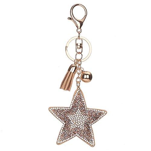 uble Crystal Rhinestone Tassel Pendant Keychain Car Bag Purse Keyring (Star Keychain)