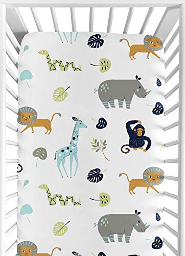 Navy Blue Jungle - Sweet Jojo Designs Turquoise and Navy Blue Safari Animal Baby or Toddler Fitted Crib Sheet for Mod Jungle Collection by
